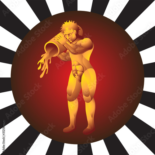 Photo Zodiac sign Aquarius man a pitcher of water on isolated background