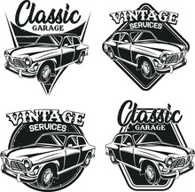 Set Of Classic Car Vector Illu...