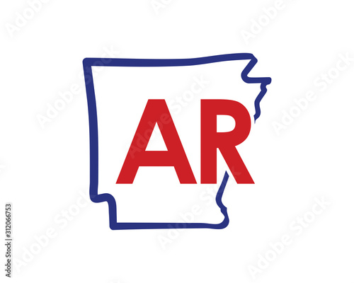 Outline Arkansas Map And abbreviations Logo Design Template 002 Wallpaper Mural