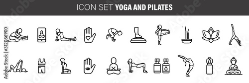 yoga and pilates line icons, signs set, vector Canvas Print