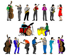 Jazz Musicians With Instruments . Isolated Silhouettes On A White Background