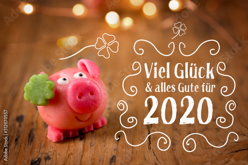 Cuadros en Lienzo  New year card 2020, german language  -  Good luck and best wishes for 2020 -  Go
