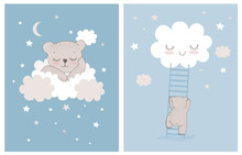 Cute Little Bear Sleeping On A White Fluffy Cloud. Simple Nursery Vector Illustrations With Baby Bear, Stars And Clouds. Little Bear Climbing The Ladder To The Smiling Cloud. Baby Boy Room Decoration.