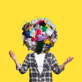 Fototapeta Kawa jest smaczna - Concept of ecology disaster, environmental pollution, garbage. Stop plastic. Negative space to insert your text or ad. Modern design. Contemporary colorful and bright art collage. Unusual look.