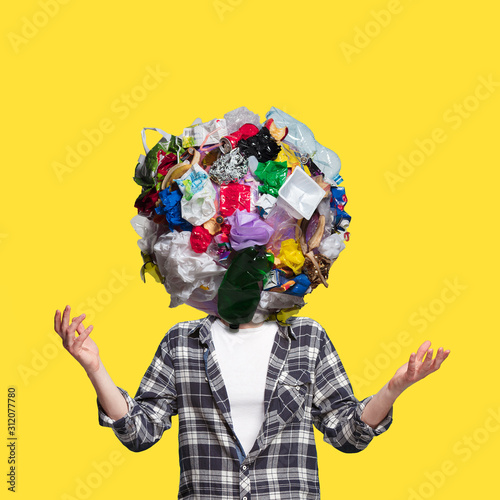 Obraz Concept of ecology disaster, environmental pollution, garbage. Stop plastic. Negative space to insert your text or ad. Modern design. Contemporary colorful and bright art collage. Unusual look. - fototapety do salonu