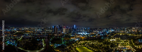 Panorama aerial view in the mid of Kuala Lumpur cityscape skyline Wallpaper Mural