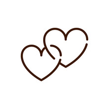 Linked Love Hearts Romantic Passion Feeling Related Icon Thick Line