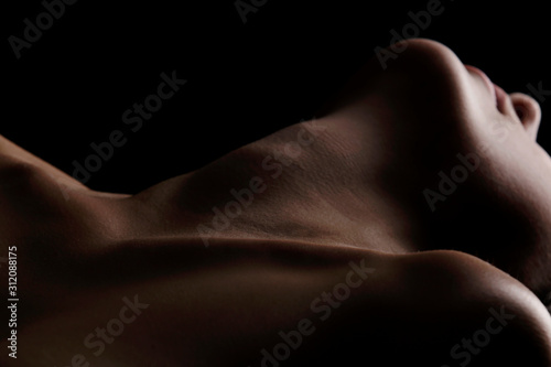 Sensual picture of woman's neck. Nude photography with visible collarbones.  - 312088175