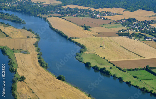 Obraz na plátne  Seine Valley, France - july 7 2017 : aerial photography of the country near Vern
