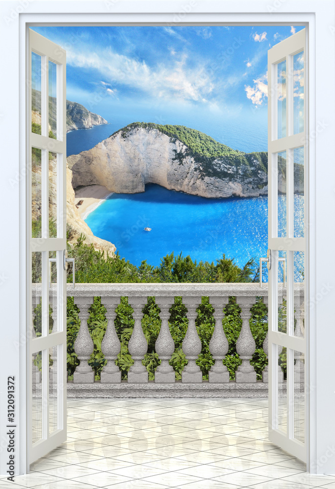 Balcony with concrete balustrade Ocean view from balcony - 3d rendering