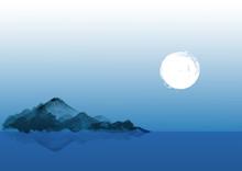 Night Landscape With Blue Moun...