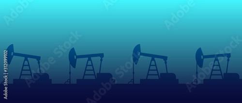 Fototapeta Silhouette Oil pump on a background of blue sky. Vector illustration obraz