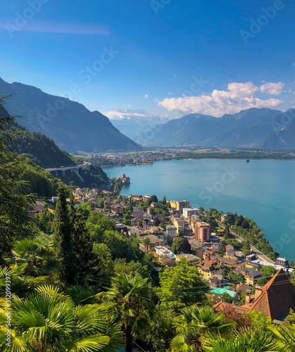 Fotografía Aerial landscape of Montreux city in Switzerland