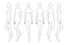 Fashion Template Of Walking Lady. 9 Head Size For Technical Drawing.