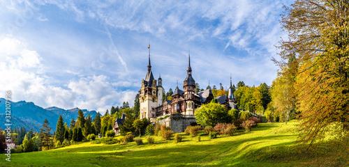 Fototapeta Landscape with Peles castle, Sinaia, Romania obraz