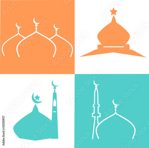 Green Dome of the mosque vector, mosque set Icon vector illustration Tableau sur Toile