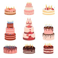 Bday Sweet Baked Isolated Cakes Set. Strawberry Icing Cake For Holiday, Cupcake, Baked Brown Chocolate Cake Gourmet, Colorful Celebration Cherry Cake Bakery. Birthday Cake With Candles And Fruits