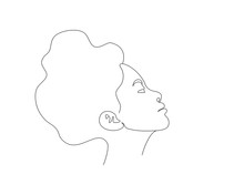 Side View Portrait Of A Woman's Face, Line Drawing Vector Illustration