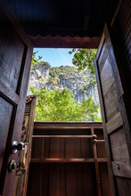 Open Window And Doorway In A Beach House At Railay Beach, Thailand
