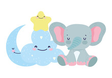 Baby Shower Cute Elephant Half...