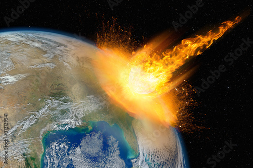 Photo Dangerous asteroid hits planet Earth, total disaster and life extinction, elemen