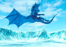 Blue Ice Dragon Falling On Fro...