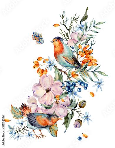 Leinwandbilder - Gentle watercolor bouquet with pair of birds, pink, light blue flowers, blue and orange berries, twigs, leaves, buds.