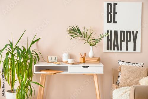 Fototapeta Stylish comfortable workplace in modern room obraz na płótnie
