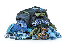 Heap Of Different Clothes On White Background