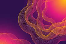 Modern Abstract Background Design In Trendy Neon Bright Bold Violet And Pink Colors. 3D Waves Effect And Gradients.