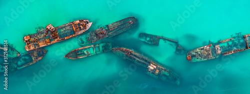 Obraz na plátně Tangalooma Shipwrecks off Moreton island, Queensland Australia