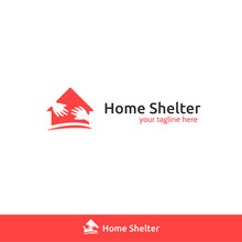 Orphanage Orphan Home Shelter Vector Logo. People, Kids Care Or Homeless Care Organization Charity, Community Helping Each Other. Simple Logo With Home And Helping Hand Reaching Each Other