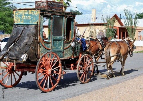 Fotografie, Tablou Horses and stagecoach in Tombstone