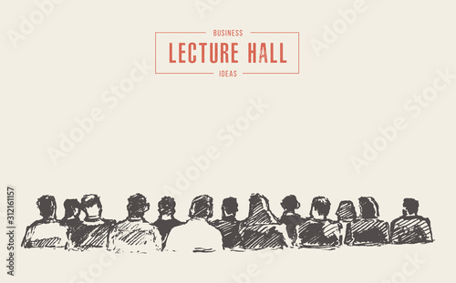 Fototapeta People sitting audience lecture hall vector sketch obraz
