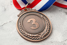 Bronze Medal. Third Place Award With Ribbon
