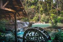 Old Wooden Water Mill Over The...