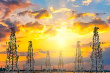 Telecommunication Tower At Sunset Sky Background