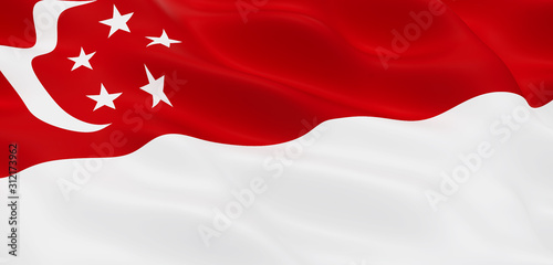 Photo National Fabric Wave Closeup Flag of Singapore
