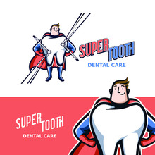 Superhero Tooth Mascot Logo With Vintage And Retro Style To Represents Strong Tooth For Dentist Or Dental Care