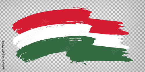 Obraz na plátně Flag of Hungary, brush stroke background