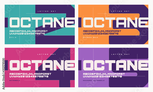 Vector sans serif urban geometric letter set, alphabet with different weights
