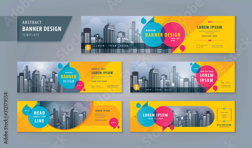 Photo Abstract banner design web template Set, Horizontal header web banner