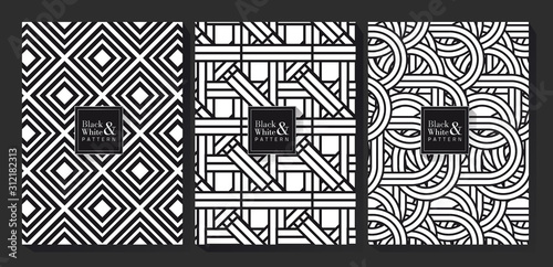 Fototapety, obrazy: Black and White Pattern