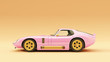 canvas print picture - Powerful Pink an Gold Sports Roadster Coupe Car 1960's 3d illustration 3d render