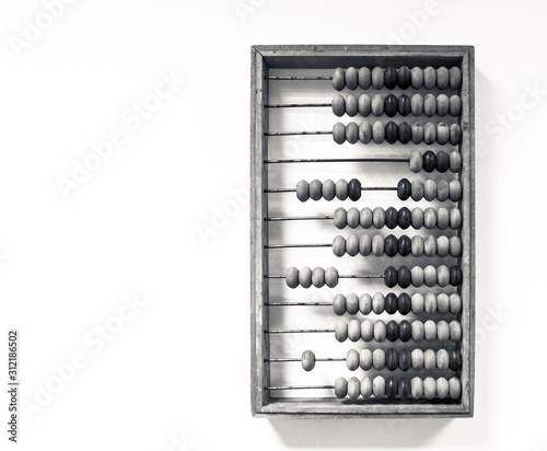 Photo wooden abacus hang on the wall