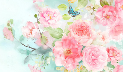 Fototapeta Róże Watercolor flower, background pattern, wallpaper design
