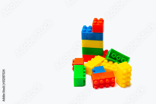 colorful toy building blocks isolated on white background