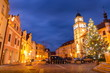 Christmas time on Masaryk square at night. Center of a old town of Trebon, Czech Republ