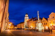 Night over Masaryk square. Center of a old town of Trebon, Czech Republic.