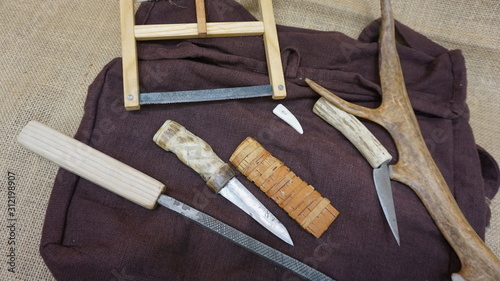 anglo saxon and medieval bone and antler working tools Canvas Print